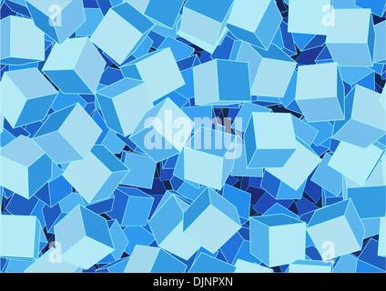 Vektor-Illustration Stil blau nahtlose Hintergrund gemacht von vielen funky cubes - Stockfoto
