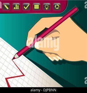 Handzeichnung eines Diagramms - Stockfoto