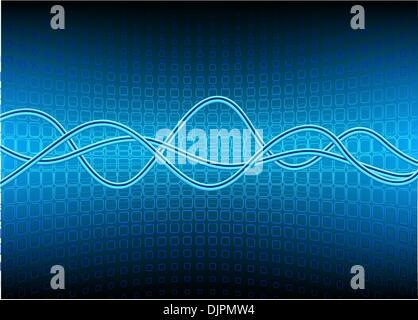 Vektor-Illustration der blaue Halbkreis Oberfläche aus Quadraten und geschwungene Linien - Stockfoto