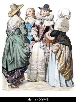 17. Jahrhundert Englisch XVII1600s Kostüm Damen in Straße Kostüm und zentrieren Sie Oberbürgermeisterin - Stockfoto