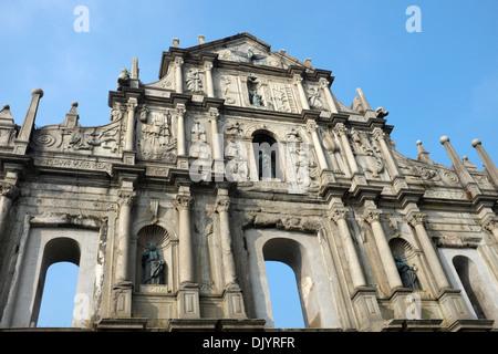 Ruinen der St. Pauls-Kirche in Macau, China - Stockfoto