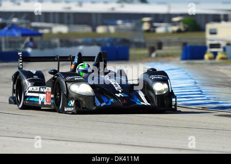 16. März 2011 fährt - Sebring, Florida, USA - Highcroft Acura Rennfahrer MARINO FRANCHITTI, von Schottland, während - Stockfoto