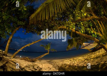 Hängematten zwischen den Palmen mit weißem Sand und blauem Wasser auf ein Paradies Bounty Island auf den Malediven - Stockfoto