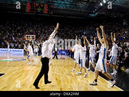 10. September 2011 - Mar del Plata, Buenos Aires, Argentinien - Argentinien feiern nach dem Gewinn der FIBA Americas - Stockfoto