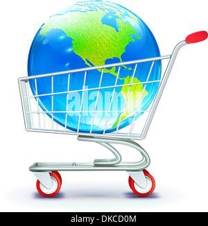 Vektor-Illustration Globle shopping Konzept mit Einkaufswagen mit Globus - Stockfoto