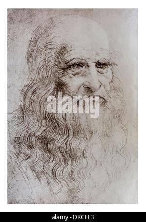 Ein Selbstbildnis von Leonardo Da Vinci in Rötel - Turin königliche Bibliothek - Stockfoto