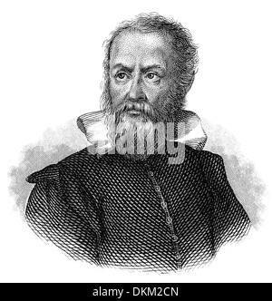 Porträt von Galileo Galilei 1564-1642, ein italienischer Philosoph, Mathematiker, Physiker und Astronom - Stockfoto