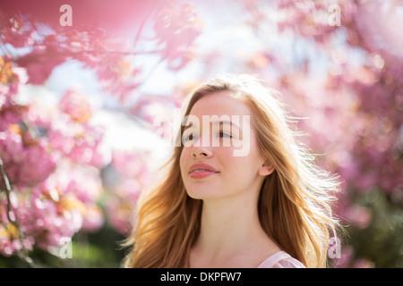 Frau zu Fuß unter Baum mit rosa Blüten - Stockfoto