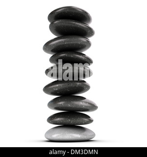 Neun Kieselsteine gestapelt auf weißem Hintergrund, Ausgleich von Steinen. 3D render Symbol für Meditation und Zen. - Stockfoto