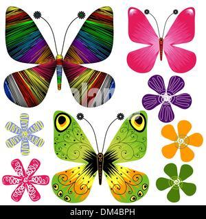 Set Abstrakt Schmetterlinge und Blumen - Stockfoto