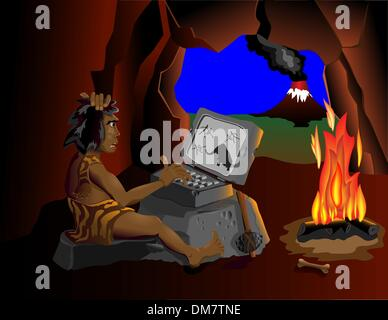 Der Computer weiß sogar Höhlenmenschen sitzen um das Feuer - Stockfoto