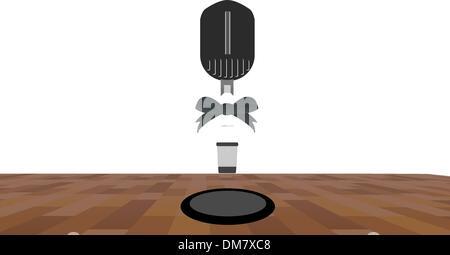 Ein Mikrofon auf einer Bühne mit einem Scheinwerfer auf sie. - Stockfoto