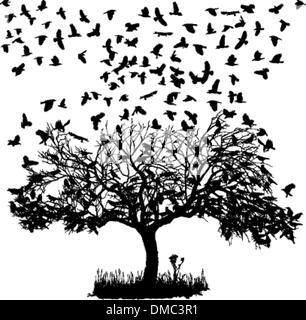 Krähen auf einem Baum - Stockfoto