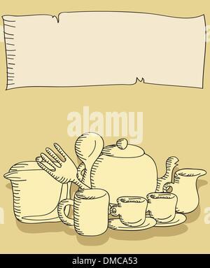 Cartoon-doodles Essen und die Küche Zeug Hintergrund - Stockfoto