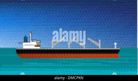 Frachtschiff nähert oder den Hafen - Stockfoto