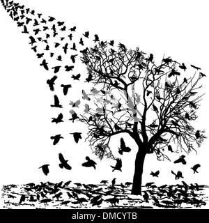 Krähen auf einem Baum im winter - Stockfoto