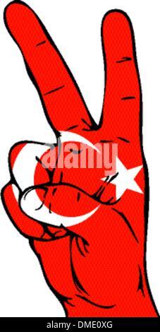 Peace Flagge Zeichen der türkischen - Stockfoto
