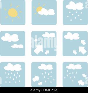 Satz Von Wettersymbole Mit Sonne Wolken Regen Schnee Und Blitz