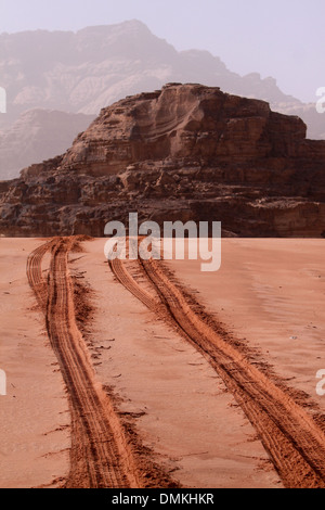 Spuren im Sand @Visit, Wadi Ram - Jordanien - Stockfoto
