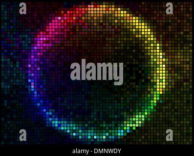 Bunte Runde Square Pixel Mosaik Vektor Banner.Multicolor Abst - Stockfoto