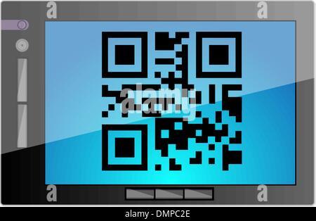 Tablet mit QR-code - Stockfoto