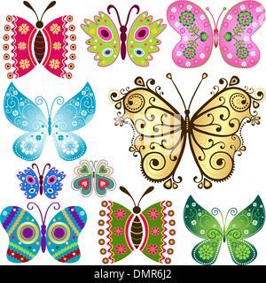 Schmetterlinge Set fantasy - Stockfoto