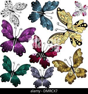 Set Abstrakt Schmetterlinge - Stockfoto