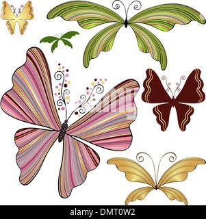 Schmetterlinge Set Fantasie gestreift - Stockfoto