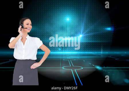 Zusammengesetztes Bild von fröhlich smart Call-Center-Agenten arbeiten - Stockfoto