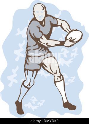 Rugby-Spieler mit Ball - Stockfoto