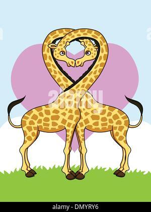 Zwei lustige Giraffen in der Liebe - Stockfoto