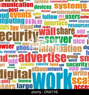 Social-Media-Konzept in der Tag-Cloud-Hintergrund - Stockfoto