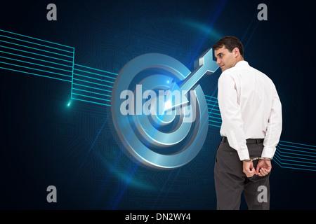 Zusammengesetztes Bild des Geschäftsmannes tragen Handschellen - Stockfoto