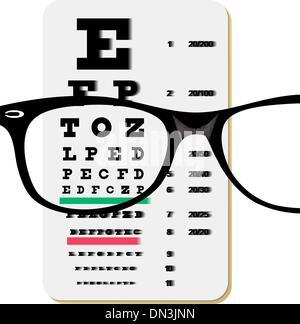 Brille über Snellen Sehtafel - Stockfoto