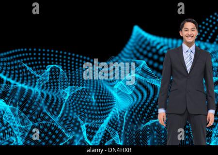 Zusammengesetztes Bild des lächelnden asiatischen Geschäftsmann - Stockfoto