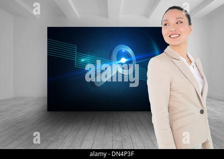 Zusammengesetztes Bild des lächelnden asiatische Geschäftsfrau - Stockfoto