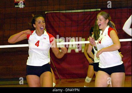 21. November 2006; Berkeley, CA, USA; St. Marien TARAH MURRAY (L) und DANA BALDING feiern einen Punkt während ihrer - Stockfoto