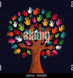 Multi soziale Solidarität Baum Hände - Stockfoto