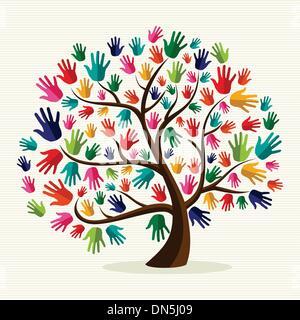 Bunte Solidarität Hand Baum - Stockfoto