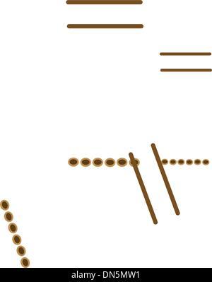 Drei musikalische Panflöte, Isolated on White Background - Stockfoto