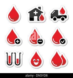 Blut Spende Vektor-Icons set - Stockfoto