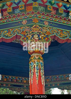 Dekorative Designs auf ein Pavillon, Gantok, Sikkim - Stockfoto