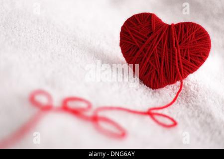 Garn Wolle in Herz-Form-symbol - Stockfoto