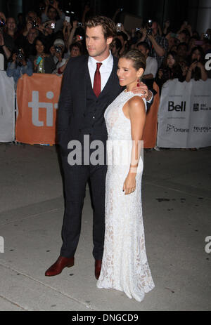 "Toronto, ON, Kanada. 9. September 2013. Chris Hemsworth, Elsa Pataky bei der Premiere von ""Rush"" auf 2013 Toronto - Stockfoto"