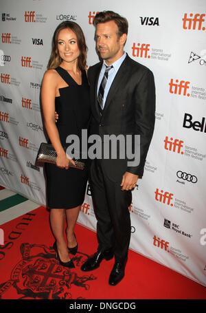 "Toronto, ON, Kanada. 9. September 2013. Olivia Wilde mit Jason Sudeikis bei der Premiere von ""Rush"" auf 2013 Toronto - Stockfoto"