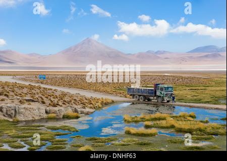 Laguna Colorada, rote Lagune Altiplano flachen Salzsee, Potosi, Bolivien - Stockfoto