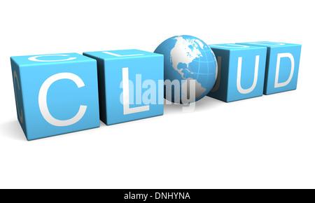 Blaue Wolke computing Zeichen gemacht-Cubes und Planeten isoliert auf weißem Hintergrund - Stockfoto