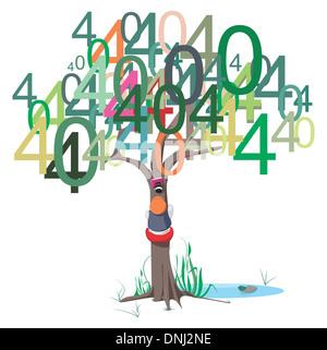 Anschauliche Darstellung der 404 Fehlermeldung auf einem Baum - Stockfoto