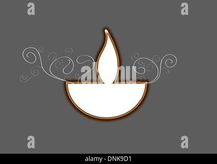 Diwali Öllampe auf grauem Hintergrund isoliert