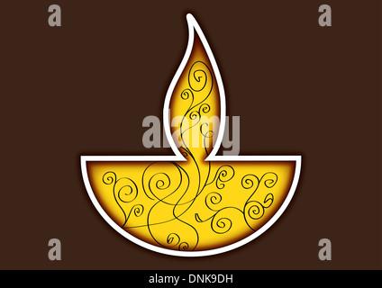 Diwali Öllampe auf farbigem Hintergrund isoliert